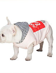 cheap -Dog Hoodie Dog Clothes Casual/Daily Letter & Number White Pink Costume For Pets