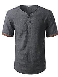 Men's Plus Size Going out Casual/Daily Simple Spring T-shirt,Solid V Neck Short Sleeve Cotton Linen