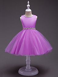Princess Knee Length Flower Girl Dress - Polyster Sleeveless Jewel Neck with Pearl by Bflower