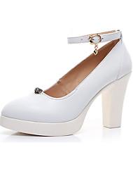 Feminino Saltos Sapatos formais Couro Primavera Outono Casual Sapatos formais Salto Grosso Branco Preto 12 cm ou mais