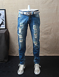 Men's Mid Rise Micro-elastic Jeans Pants,Street chic Simple Straight Ripped Solid