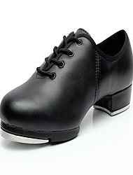 "Women's Tap Leather Heel Sneaker Practice Low Heel Black 1"" - 1 3/4"""