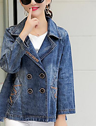 cheap -Women's Daily Modern/Contemporary Spring Denim Jacket,Solid Shirt Collar Long Sleeve Short Cotton Others