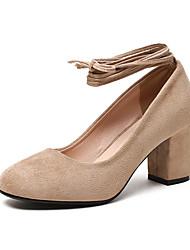 Damen High Heels Komfort Pumps Vlies Frühling Herbst Normal Blockabsatz Schwarz Beige Grau Braun 2,5 - 4,5 cm
