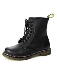 Women's Boots Comfort Fashion Boots Fall Winter Real Leather PU Casual Black Burgundy Flat