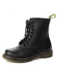 preiswerte -Damen Schuhe Echtes Leder PU Herbst Winter Komfort Modische Stiefel Stiefel Für Normal Schwarz Burgund