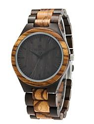 cheap -Men's Wood Watch Japanese Quartz Wooden Wood Band Luxury Elegant Black Brown