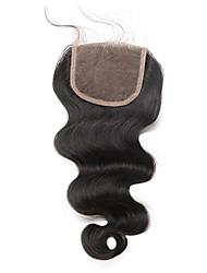 Недорогие -5x5 кружевное закрытие с ребенком без волос / середина часть тела волна бразильская remy волосы cara волосы отбеленные узлы естественный