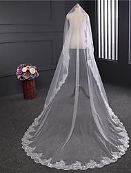 cheap -One-tier Lace Applique Edge Wedding Veil Chapel Veils With Applique Sequin Satin Flower Tulle