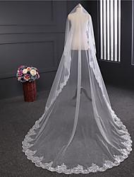 Недорогие -Один слой Кружевная кромка Свадебные вуали Соборная фата С Пайетки Цветы из сатина Аппликации Тюль