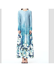 Women's Party Daily Going out Sexy Street chic Chinoiserie A Line Swing Dress,Solid Floral Print Round Neck Maxi Long Sleeves Silk Linen