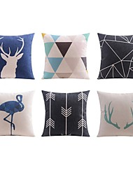 cheap -6 pcs Linen Pillow case Bed Pillow Body Pillow Travel Pillow Sofa Cushion Pillow Cover,Art Deco Animals Geometric PatternArtistic Art