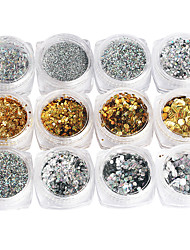 cheap -12PCS Iridescence  Gold And Silver Nail Art Sequins Mix Model