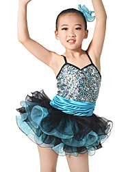 MiDee Jazz Dresses Women's / Children's Performance Spandex / Sequined Paillettes / Flower(s) / Ruffles / Sequins / Tiers3