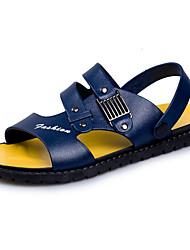 billige -Herre PU Sommer Komfort Sandaler Sort / Blå / Mørkebrun