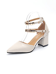 Women's Heels Basic Pump Light Soles Summer PU Walking Shoes Dress Party & Evening Buckle Stiletto Heel Block Heel White Khaki 5in & over