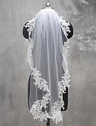 Uma Camada Borda com aplicação de Renda Véus de Noiva Véu Ombro Véu Ponta dos Dedos Com Apliques Renda Tule