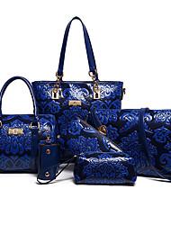 baratos -Mulheres Bolsas PU Conjuntos de saco Ziper / Flor Azul / Vermelho / Bege
