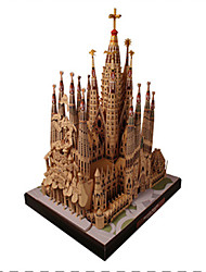 cheap -3D Puzzles Paper Model Square Famous buildings Church Architecture DIY Hard Card Paper Unisex Gift