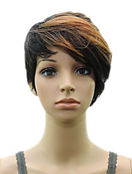 cheap -Brown Black Mixed  Woman Layered Curly  Synthetic  Hair Short  Wig