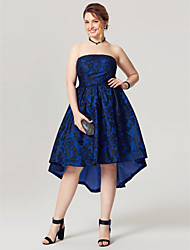 cheap -A-Line Strapless Asymmetrical Lace Taffeta Cocktail Party Homecoming Dress with Pleats by TS Couture®