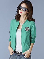 cheap -Women's Casual Jackets Casual Spring/Fall Summer Jacket,Solid Stand Long Sleeve Regular Polyester