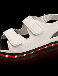 cheap -Women's Sandals Light Soles Summer PU Walking Shoes Casual LED Flat Heel White Black 2in-2 3/4in