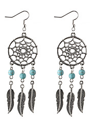 Bohemia Retro Tibetan Silver Hollow Round Dream Catcher Turquoise Leaves Pendant Earrings Tassel Dangle Statement Earrings Women Jewelry