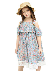 cheap -Girl's Floral Floral / Botanical Dress, Cotton Summer Short Sleeves Floral Ruffle Light Blue