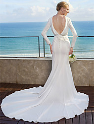 cheap -Mermaid / Trumpet Bateau Neck Chapel Train Chiffon Wedding Dress with Sash / Ribbon Draped by LAN TING BRIDE®