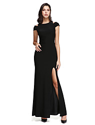 cheap -Sheath / Column Off Shoulder Ankle Length Jersey Little Black Dress Cocktail Party / Prom / Formal Evening Dress with Split Front by TS Couture®