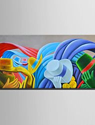 cheap -Hand-Painted Abstract Horizontal, Other Retro Canvas Oil Painting Home Decoration One Panel