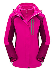 Women's 3-in-1 Jackets Waterproof Thermal / Warm Windproof Wearable Breathable Top for Camping / Hiking Hunting Fishing Fall/Autumn S M L