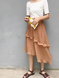 Women's Casual/Daily Midi Skirts Relaxed Solid Summer