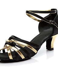 Women's Latin Customized Materials Heels Indoor Customized Heel Black/Gold Customizable