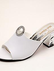 Women's Sandals Comfort PU Summer Outdoor Walking Comfort Metallic toe Low Heel White Black 1in-1 3/4in
