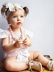 Недорогие -малыш Девочки Хлопок / Повседневные Сплошной цвет Короткие рукава Обычный Обычная Хлопок Набор одежды Розовый / Дети (1-4 лет)