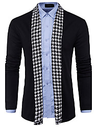 cheap -Men's Long Sleeves Wool Cardigan - Color Block V Neck