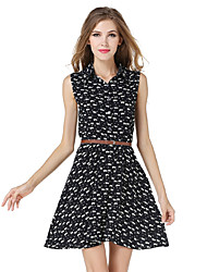 Women's Going out Casual/Daily Sexy Sophisticated T Shirt Chiffon DressAnimal Print Shirt Collar Above Knee Sleeveless Polyester Summer Belt Included