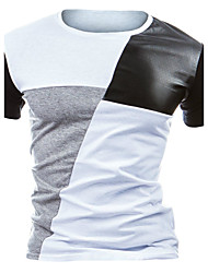 cheap -Men's Daily Active All Seasons T-shirt,Color Block Round Neck Short Sleeves Cotton Polyester Medium