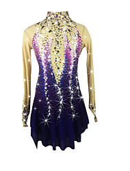Figure Skating Dress Women's Girls' Ice Skating Dress Purple Spandex Rhinestone High Elasticity Performance Skating Wear Handmade Jeweled