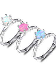 Lucky Shine Women's Men's Unisex 925 Silver Classic Rings With Fire Round Pink White Blue Opal Crystal Gemstone