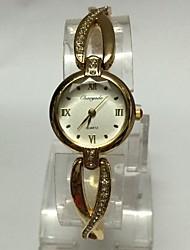 Mulheres Relógio de Moda Relógio de Pulso Bracele Relógio Chinês Quartzo Metal Banda Casual Dourada