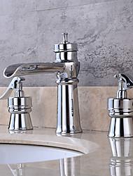 Art déco/Retrò A 3 fori Valvola in ottone Due maniglie Quattro fori for  Cromo , Lavandino rubinetto del bagno