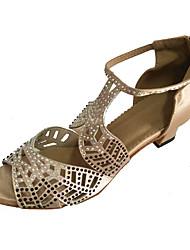 preiswerte -Damen Schuhe für den lateinamerikanischen Tanz Satin Sandalen Innen Strass Maßgefertigter Absatz Tanzschuhe Beige