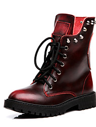 Women's Boots Motorcycle Boots Spring Summer Nappa Leather Casual Outdoor Office & Career Rivet Low Heel Black Earth Yellow Ruby Under 1in