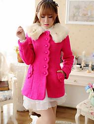Недорогие -Жен. Повседневные Зима Обычная Пальто Лацкан с тупым углом, Мода Милая Однотонный Шерсть