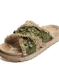 Недорогие -Для женщин Сандалии Удобная обувь Мода Полиуретан Весна Лето Повседневные Для праздника Удобная обувь Мода Оборки Цветы На плоской подошве