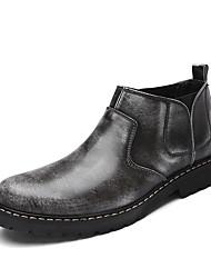 baratos -Homens sapatos Courino Primavera / Outono Conforto Botas Botas Cano Médio Cinzento / Castanho Escuro