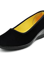Mulheres Sapatos Tecido Primavera Verão Conforto Saltos Salto Plataforma Ponta Redonda para Casual Escritório e Carreira Preto